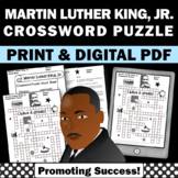 Black History Month Crossword Puzzle, Martin Luther King Jr Activities