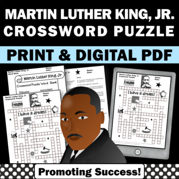 Martin Luther King Jr Day Crossword Puzzle No Prep Black H