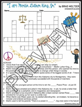 Martin Luther King Jr Activities Crossword Puzzle Word Search Brad Meltzer Book