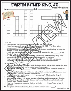 Martin Luther King Jr Crossword and Word Search Find Activities