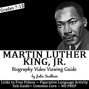 Martin Luther King Activities Biography Viewing Guide, Printable and Digital