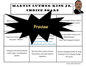 Martin Luther King Jr. Day Choice Board Holiday Activities Menu Project Rubric