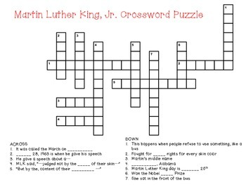 Martin Luther King Jr. Day Crossword Puzzle