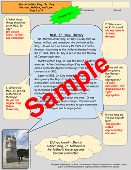 Martin Luther King, Jr. Day - Evidence/Document-based Approach to Learning - DBQ