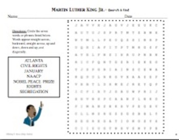 Martin Luther King Jr. Day Informational Text and Search and Find