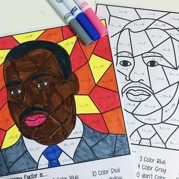 Martin Luther King Jr. Day Multiplication Color by Number