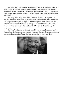 Martin Luther King Jr. Day NO PREP reading and activities, CRITICAL THINKING