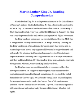 Martin Luther King Jr. Day Reading Comprehension Unit