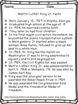 Martin Luther King Jr. Day Reading and Writing Activity Worksheets (25 pages)