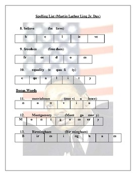 Martin Luther King Jr. Day Spelling List