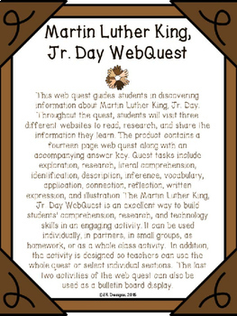 Martin Luther King, Jr. Day WebQuest - Engaging Internet Activity {Google Ready}