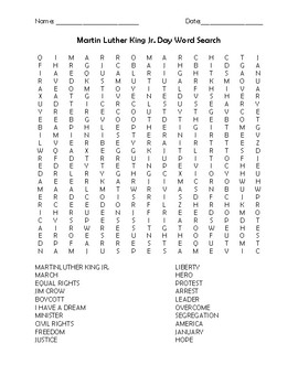 Martin Luther King Jr. Day Word Search