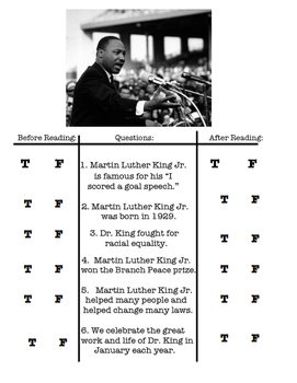 Martin Luther King Jr Day Worksheet