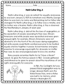 Martin Luther King, Jr. Differentiated Nonfiction Passages and Activities