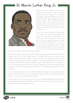 Martin Luther King Jr. Differentiated Reading Comprehension Activity