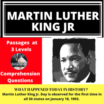 Martin Luther King Jr Differentiated Reading Passage January 18