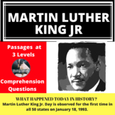 Martin Luther King Jr Differentiated Reading Comprehension Passage January 18