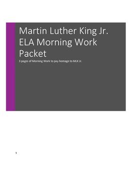 Martin Luther King Jr. ELA Morning Work, Grades 3, 4, 5
