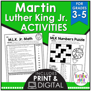 Martin Luther King Jr Elementary Math Activities