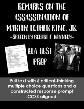 Martin Luther King, Jr. Eulogy Test Prep: Multiple Choice & Constructed Response