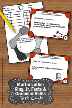 FREE Martin Luther King Activities, Grammar Practice Task Cards