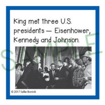 Martin Luther King Jr. Unit Activity - Fun Fact Cards for Games, Bulletin Board