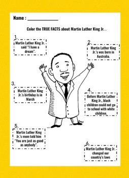 Martin Luther King Jr. Fact Page FREE EDITABLE