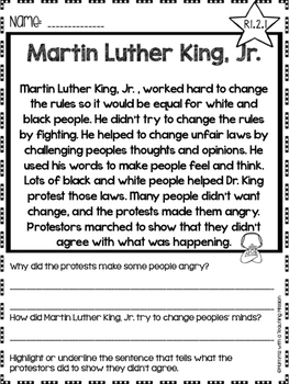 Martin Luther King Jr Facts No Prep Printables Non-fiction Passages