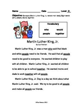 Martin Luther King, Jr. - First Grade Level D Reader