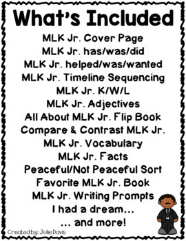 Martin Luther King Jr Activities Interactive Notebook Lapbook