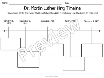 Martin Luther King, Jr. - Foldable Book, Glossary and Comprehension Activities