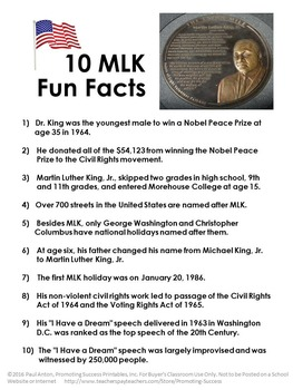 FREE Download Martin Luther King Jr. Day Fun Facts for Black History Month