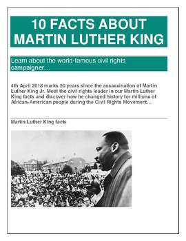 Martin Luther King Jr Fun Facts For Kids By Kidsschoolresources