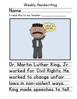 Martin Luther King Jr Handwriting