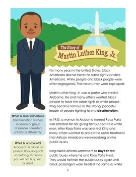 Martin Luther King Jr Biography and Comprehension