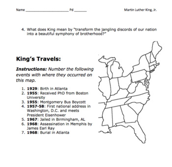 """Martin Luther King, Jr. """"I Have a Dream"""" Speech Analysis & Map / Black History"""