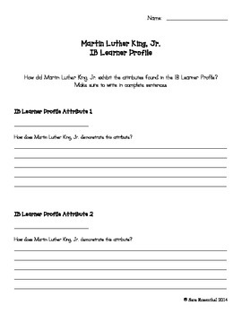 IB Learner Profile - Martin Luther King, Jr.