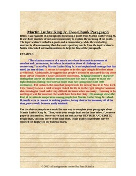 Martin Luther King Jr. Inference Quotation Paragraph Expository Writing