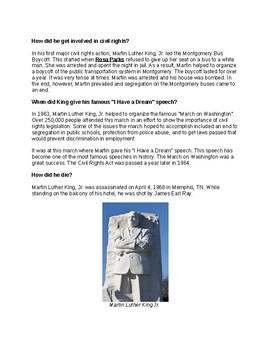 Martin Luther King, Jr (Info. Reading Text)