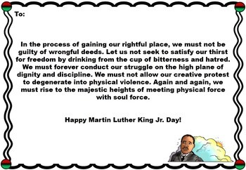 Martin Luther King Jr. Inspirational Cards for Students: Notes from the Teacher