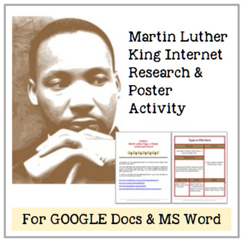 Martin Luther King, Jr: Internet Search & MS Word Poster Creation for Grades 3-6