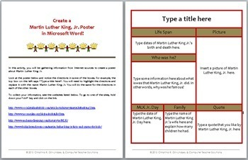 martin luther king jr internet search for msword google docs