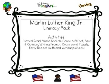 Martin Luther King Jr. Literacy Activities Freebie