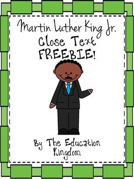 Martin Luther King Jr. MLK  Close Text Freebie!