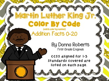 Martin Luther King Jr. MLK Color by Code Addition color by number CCSS aligned