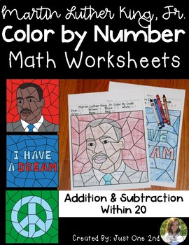 Martin Luther King, Jr. /MLK Color by Number: Addition & Subtraction Within 20