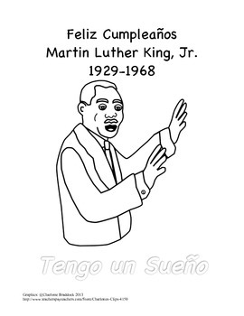 Martin Luther King, Jr./ MLK Coloring Page in Spanish