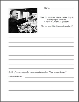 Martin Luther King Jr. MLK Day I Have A Dream Speech Writing Journal Activity