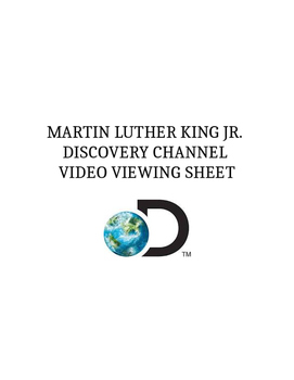 Black History Month Martin Luther King Jr MLK Discovery Channel Video Sheet