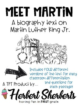 Martin Luther King Jr. [MLK] reading passage and questions - 4 levels